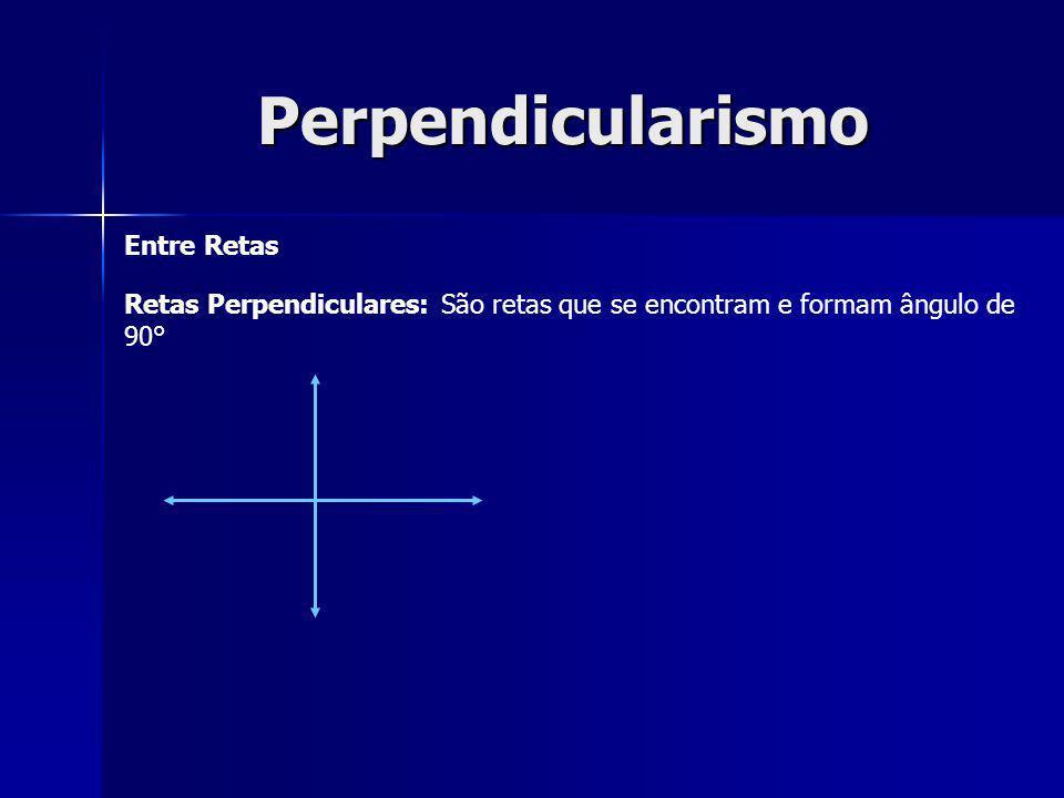 Perpendicularismo Entre Retas Retas Perpendiculares: São retas que se encontram e formam ângulo de 90°