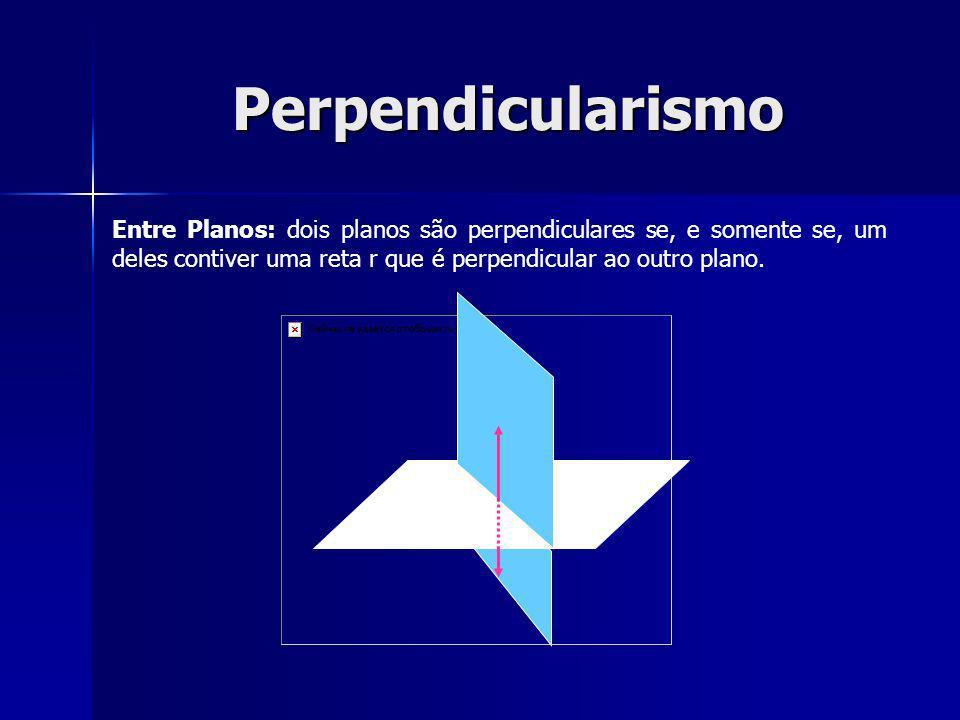 Perpendicularismo Entre Planos: dois planos são perpendiculares se, e somente se, um deles contiver uma reta r que é perpendicular ao outro plano.