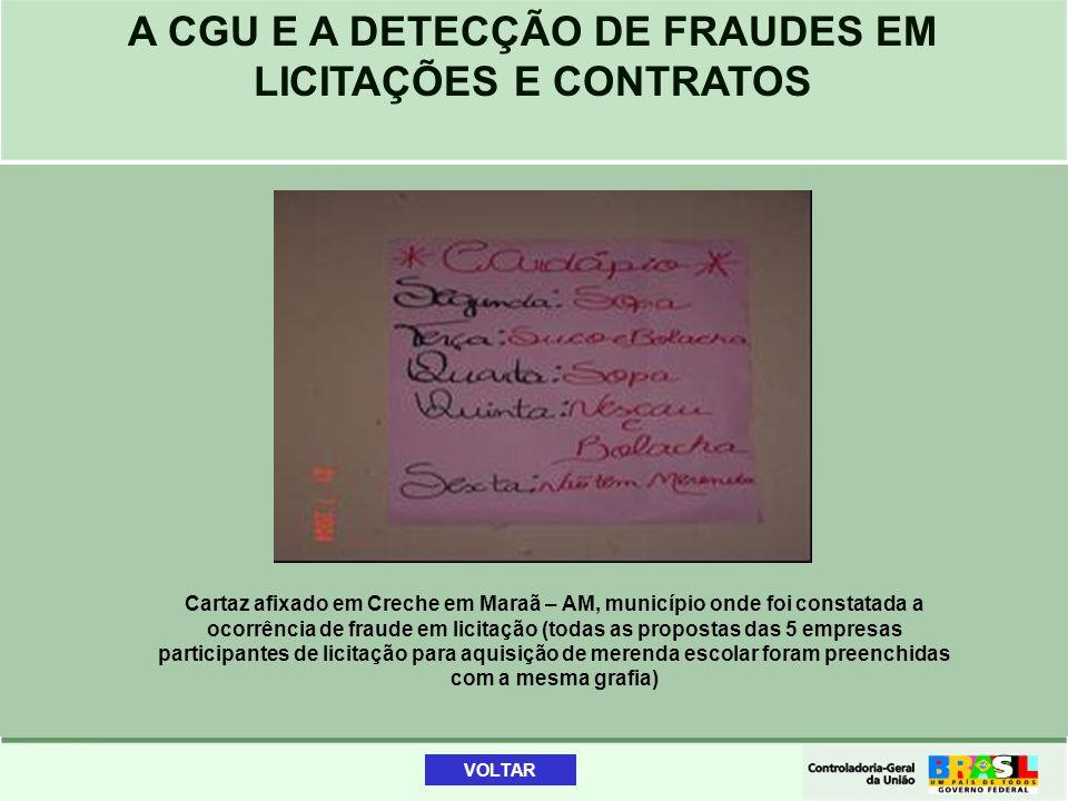 A CGU E A DETECÇÃO DE FRAUDES EM LICITAÇÕES E CONTRATOS Cartaz afixado em Creche em Maraã – AM, município onde foi constatada a ocorrência de fraude e