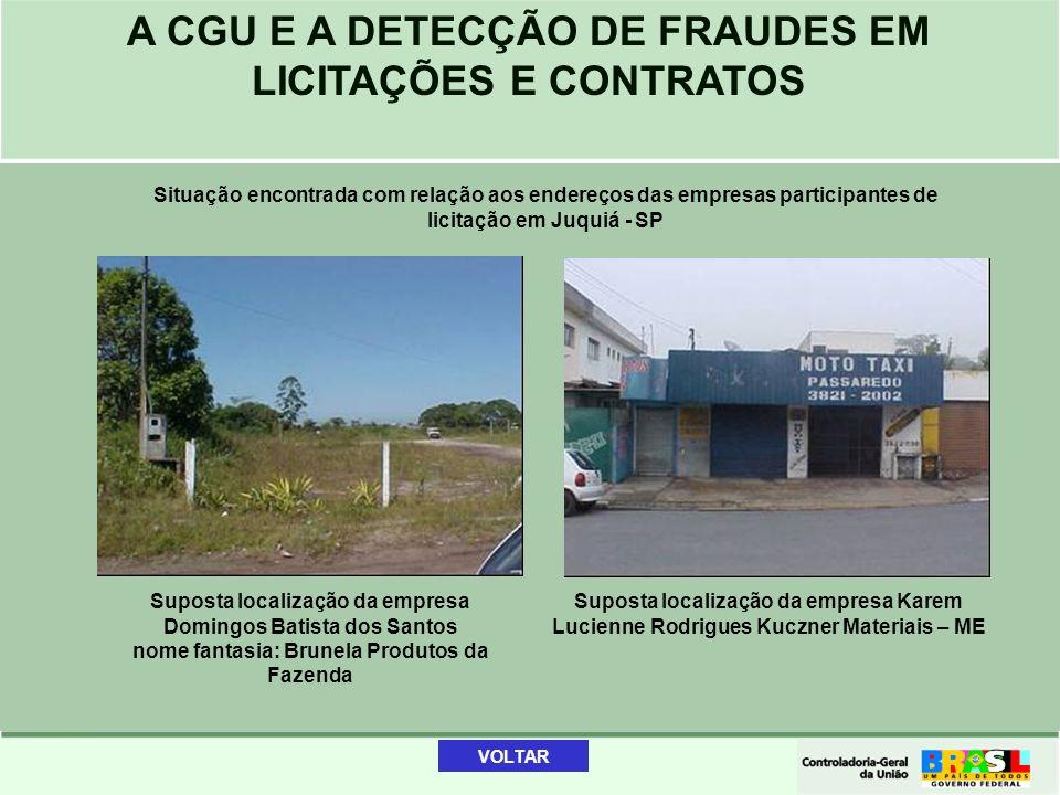 A CGU E A DETECÇÃO DE FRAUDES EM LICITAÇÕES E CONTRATOS Situação encontrada com relação aos endereços das empresas participantes de licitação em Juqui