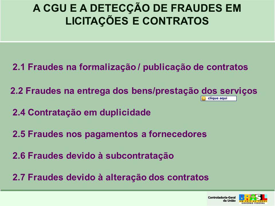 2.1 Fraudes na formalização / publicação de contratos 2.2 Fraudes na entrega dos bens/prestação dos serviços 2.4 Contratação em duplicidade 2.5 Fraude