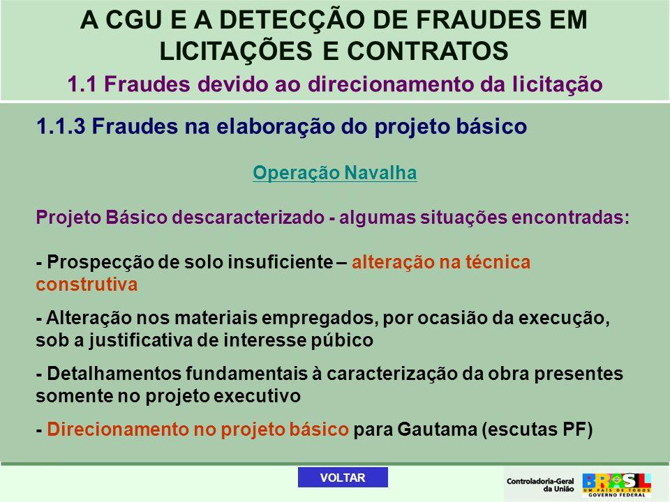 A CGU E A DETECÇÃO DE FRAUDES EM LICITAÇÕES E CONTRATOS 1.1.3 Fraudes na elaboração do projeto básico Operação Navalha Projeto Básico descaracterizado