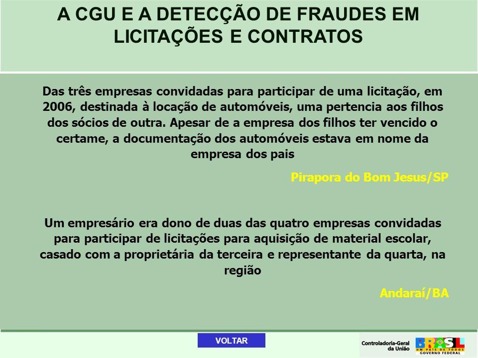 A CGU E A DETECÇÃO DE FRAUDES EM LICITAÇÕES E CONTRATOS Das três empresas convidadas para participar de uma licitação, em 2006, destinada à locação de