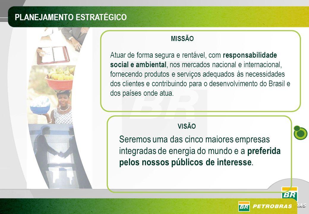 MISSÃO Atuar de forma segura e rentável, com responsabilidade social e ambiental, nos mercados nacional e internacional, fornecendo produtos e serviço