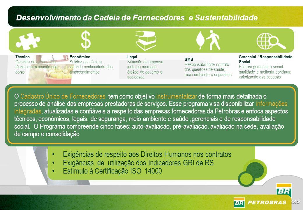 Desenvolvimento da Cadeia de Fornecedores e Sustentabilidade Técnico Garantia da capacidade técnica na execução das obras Econômico Solidez econômica