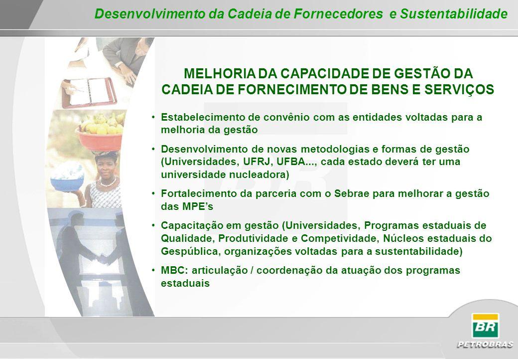MELHORIA DA CAPACIDADE DE GESTÃO DA CADEIA DE FORNECIMENTO DE BENS E SERVIÇOS Estabelecimento de convênio com as entidades voltadas para a melhoria da
