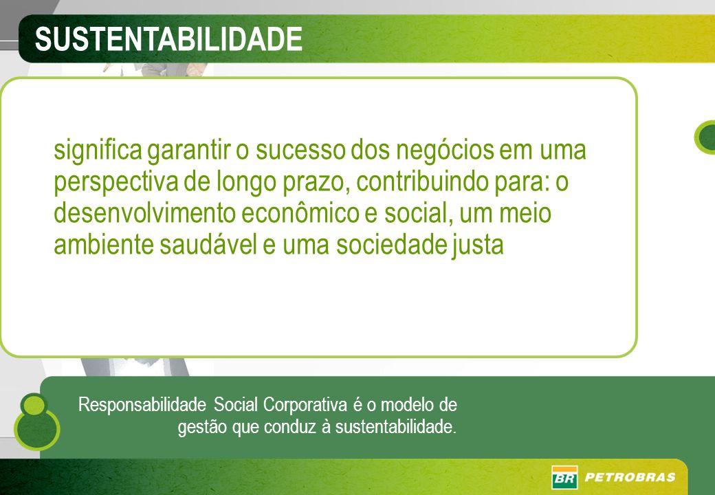 SUSTENTABILIDADE significa garantir o sucesso dos negócios em uma perspectiva de longo prazo, contribuindo para: o desenvolvimento econômico e social,