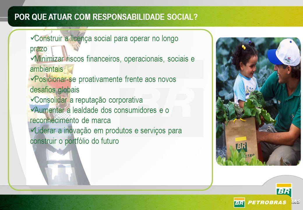 POR QUE ATUAR COM RESPONSABILIDADE SOCIAL? Construir a licença social para operar no longo prazo Minimizar riscos financeiros, operacionais, sociais e