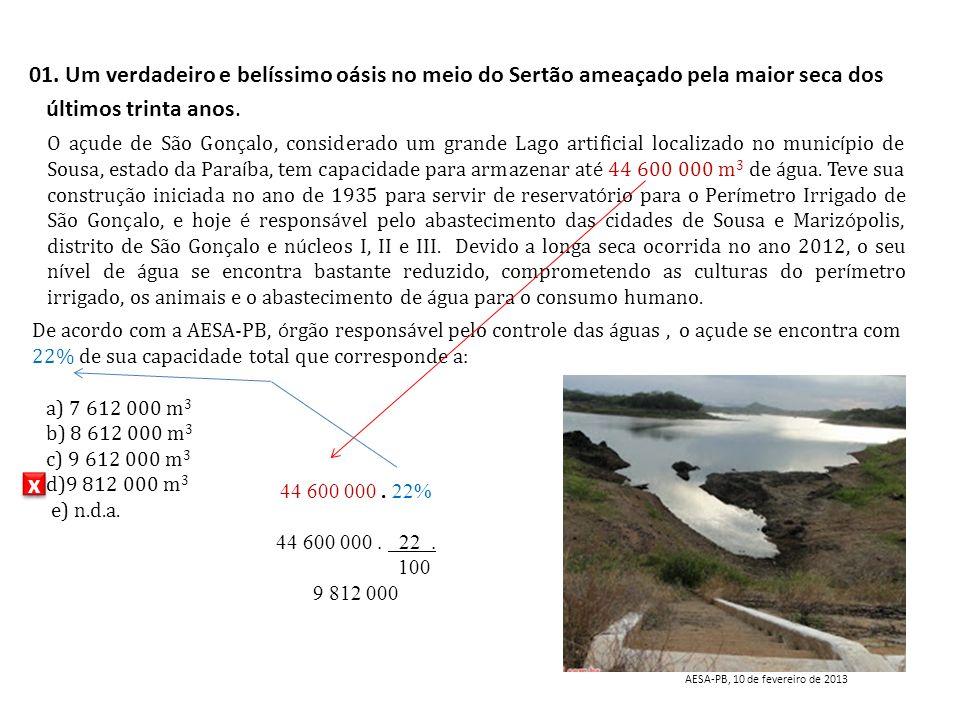 O a ç ude de São Gon ç alo, considerado um grande Lago artificial localizado no munic í pio de Sousa, estado da Para í ba, tem capacidade para armazen