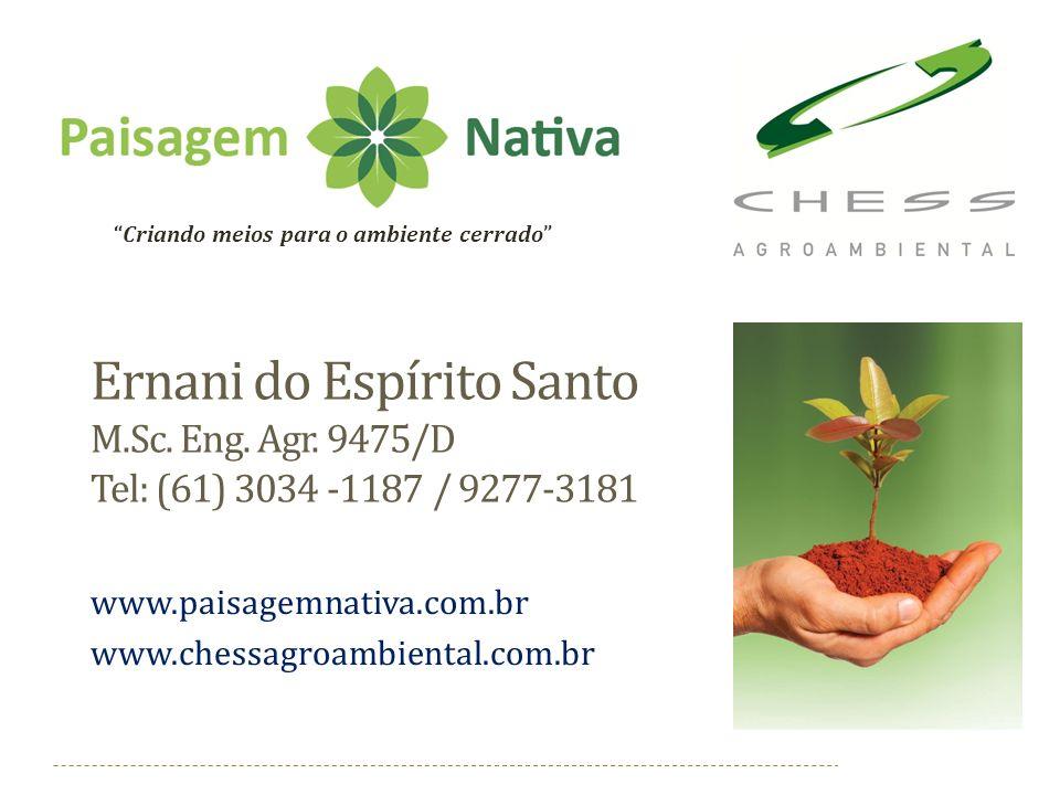 Ernani do Espírito Santo M.Sc. Eng. Agr. 9475/D Tel: (61) 3034 -1187 / 9277-3181 www.paisagemnativa.com.br www.chessagroambiental.com.br Criando meios