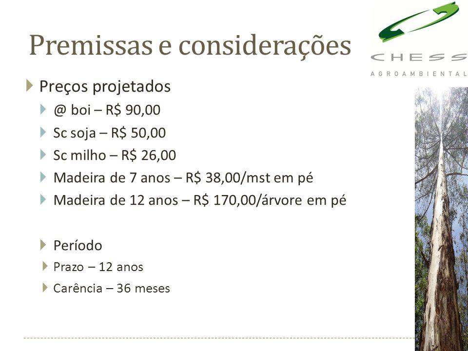 Premissas e considerações Preços projetados @ boi – R$ 90,00 Sc soja – R$ 50,00 Sc milho – R$ 26,00 Madeira de 7 anos – R$ 38,00/mst em pé Madeira de