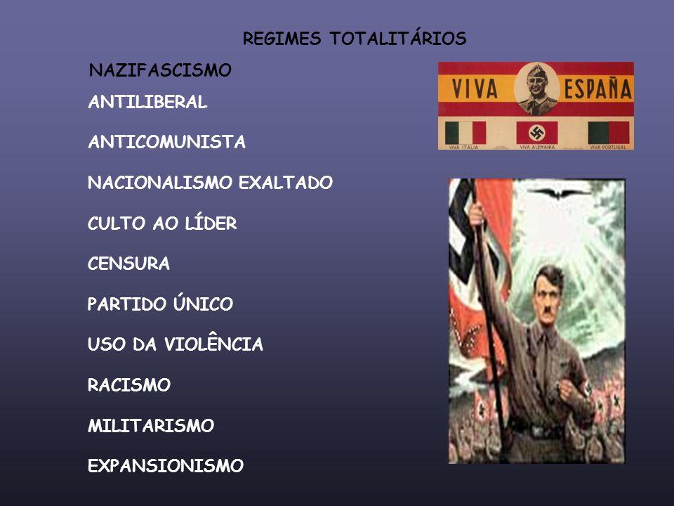 REGIMES TOTALITÁRIOS NAZIFASCISMO ANTILIBERAL ANTICOMUNISTA NACIONALISMO EXALTADO CULTO AO LÍDER CENSURA PARTIDO ÚNICO USO DA VIOLÊNCIA RACISMO MILITA