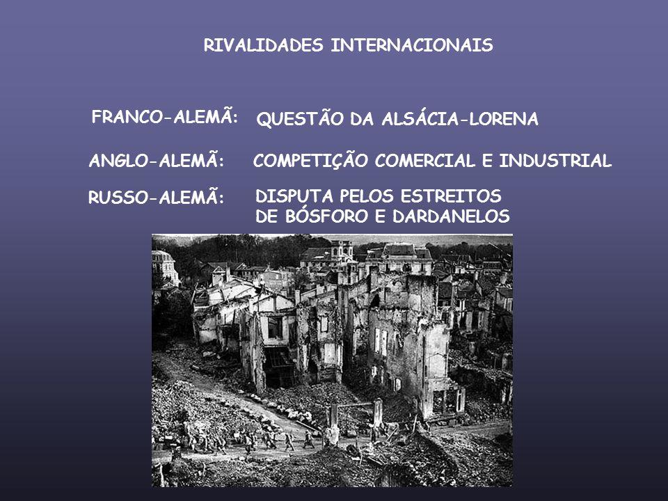 RIVALIDADES INTERNACIONAIS FRANCO-ALEMÃ: QUESTÃO DA ALSÁCIA-LORENA ANGLO-ALEMÃ:COMPETIÇÃO COMERCIAL E INDUSTRIAL RUSSO-ALEMÃ: DISPUTA PELOS ESTREITOS
