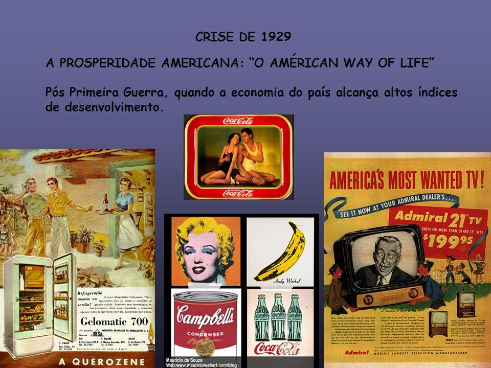 CRISE DE 1929 A PROSPERIDADE AMERICANA: O AMÉRICAN WAY OF LIFE Pós Primeira Guerra, quando a economia do país alcança altos índices de desenvolvimento