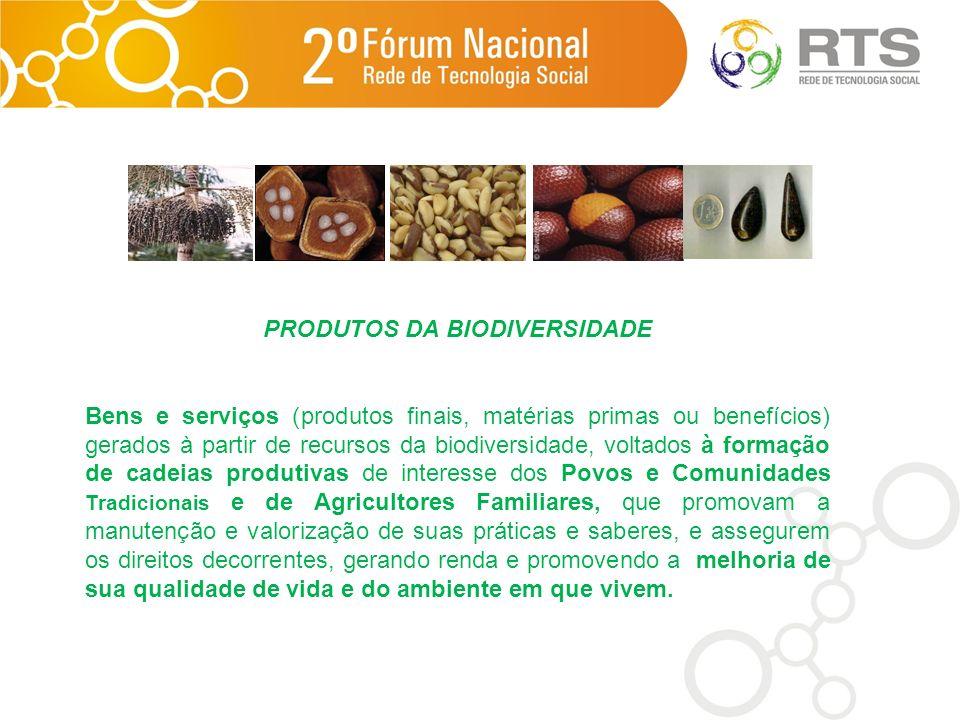 PRODUTOS DA BIODIVERSIDADE Bens e serviços (produtos finais, matérias primas ou benefícios) gerados à partir de recursos da biodiversidade, voltados à