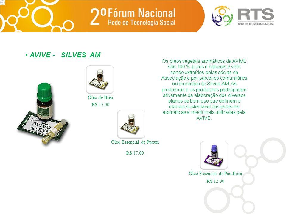 Os óleos vegetais aromáticos da AVIVE são 100 % puros e naturais e vem sendo extraídos pelas sócias da Associação e por parceiros comunitários no muni