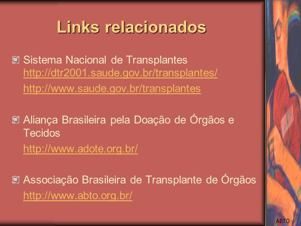 ABTO Links relacionados Sistema Nacional de Transplantes http://dtr2001.saude.gov.br/transplantes/ http://dtr2001.saude.gov.br/transplantes/ http://ww