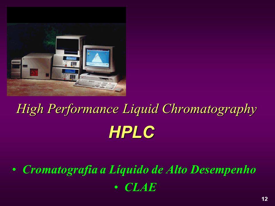 12 High Performance Liquid Chromatography Cromatografia a Líquido de Alto Desempenho CLAE HPLC