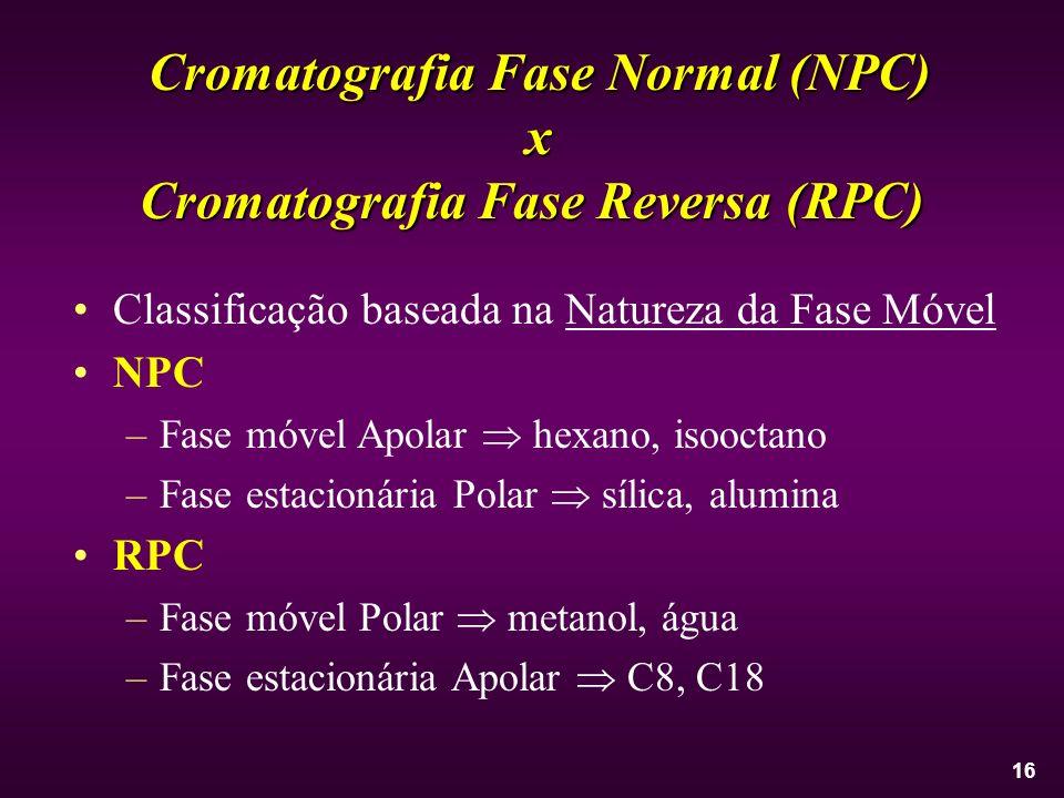 16 Classificação baseada na Natureza da Fase Móvel NPC –Fase móvel Apolar hexano, isooctano –Fase estacionária Polar sílica, alumina RPC –Fase móvel P