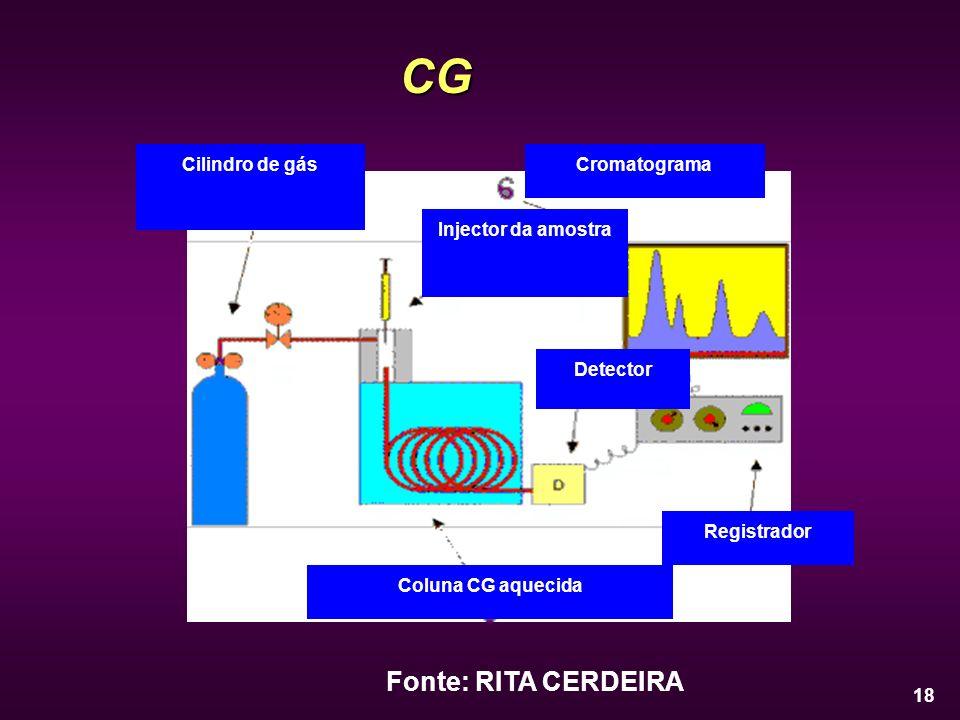 18 CG Fonte: RITA CERDEIRA Cilindro de gás Injector da amostra Coluna CG aquecida Detector Registrador Cromatograma