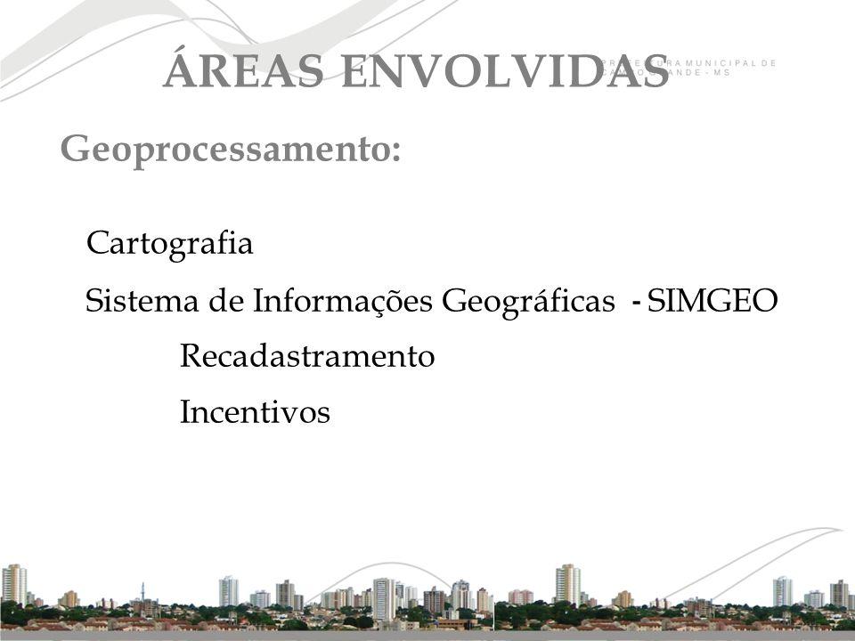 Geoprocessamento: Cartografia Sistema de Informações Geográficas - SIMGEO Recadastramento Incentivos ÁREAS ENVOLVIDAS