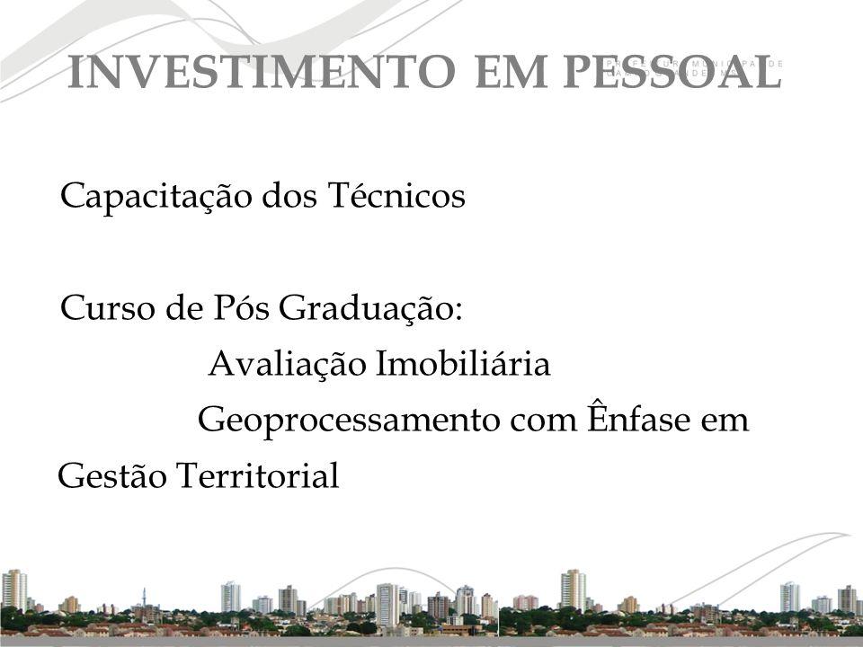 Capacitação dos Técnicos Curso de Pós Graduação: Avaliação Imobiliária Geoprocessamento com Ênfase em Gestão Territorial INVESTIMENTO EM PESSOAL