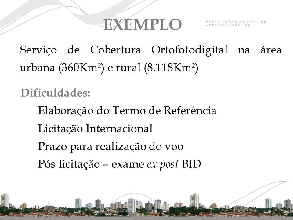 Serviço de Cobertura Ortofotodigital na área urbana (360Km²) e rural (8.118Km²) Dificuldades: Elaboração do Termo de Referência Licitação Internaciona