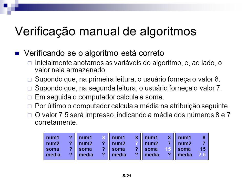 5/21 Verificação manual de algoritmos Verificando se o algoritmo está correto Inicialmente anotamos as variáveis do algoritmo, e, ao lado, o valor nel