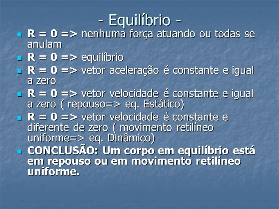 - Equilíbrio - R = 0 => nenhuma força atuando ou todas se anulam R = 0 => nenhuma força atuando ou todas se anulam R = 0 => equilíbrio R = 0 => equilí