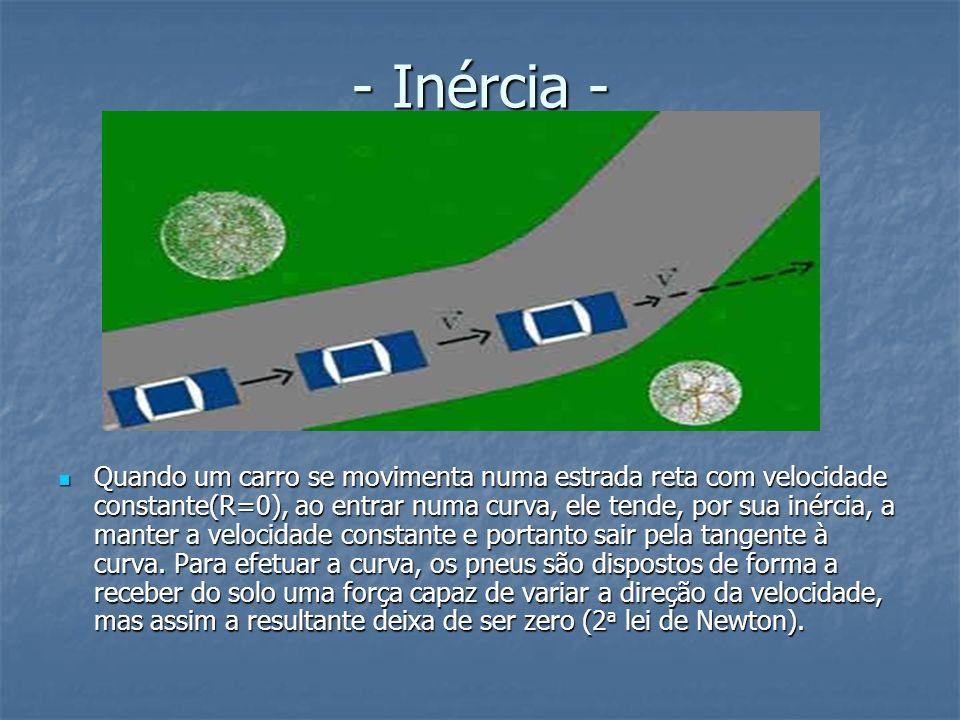 - Inércia - Quando um carro se movimenta numa estrada reta com velocidade constante(R=0), ao entrar numa curva, ele tende, por sua inércia, a manter a