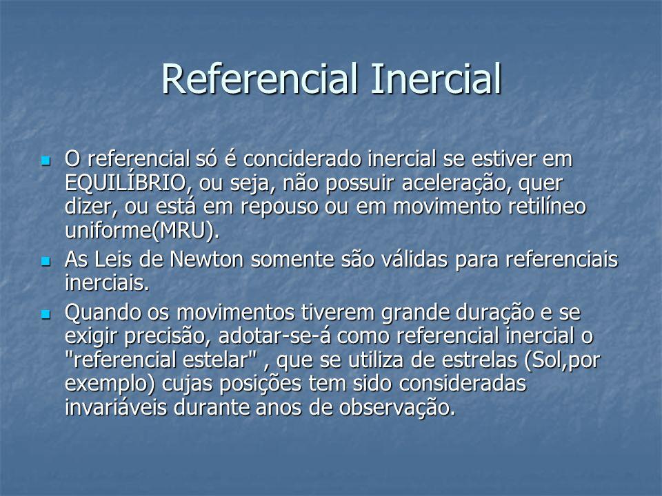 Referencial Inercial O referencial só é conciderado inercial se estiver em EQUILÍBRIO, ou seja, não possuir aceleração, quer dizer, ou está em repouso