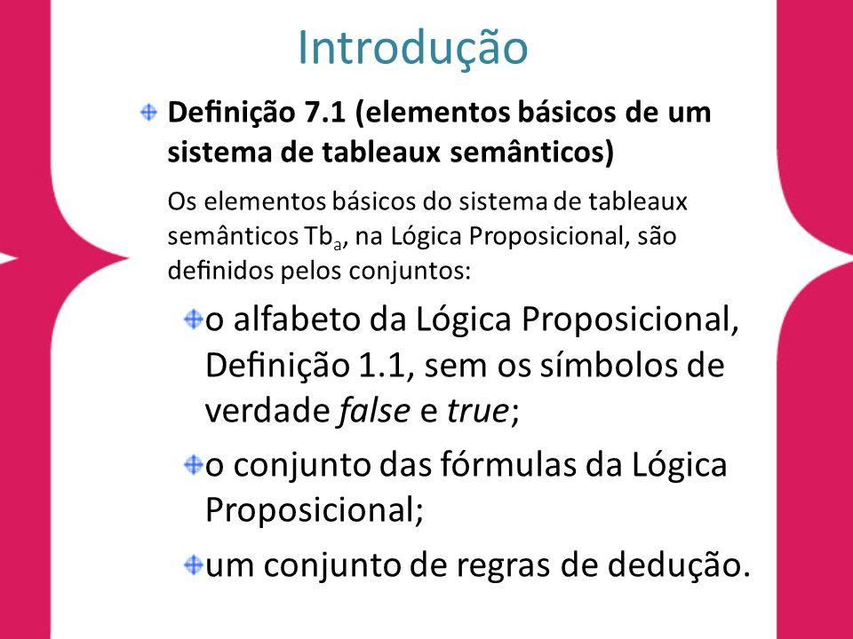 Denição 7.2 (regras de inferência do tableau semântico) Sejam A e B duas fórmulas da Lógica Proposicional.