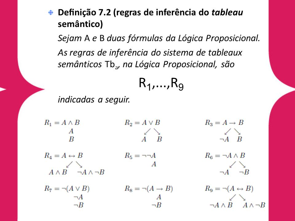 Teorema 7.1 (completude) Seja H uma fórmula da Lógica Proposicional.