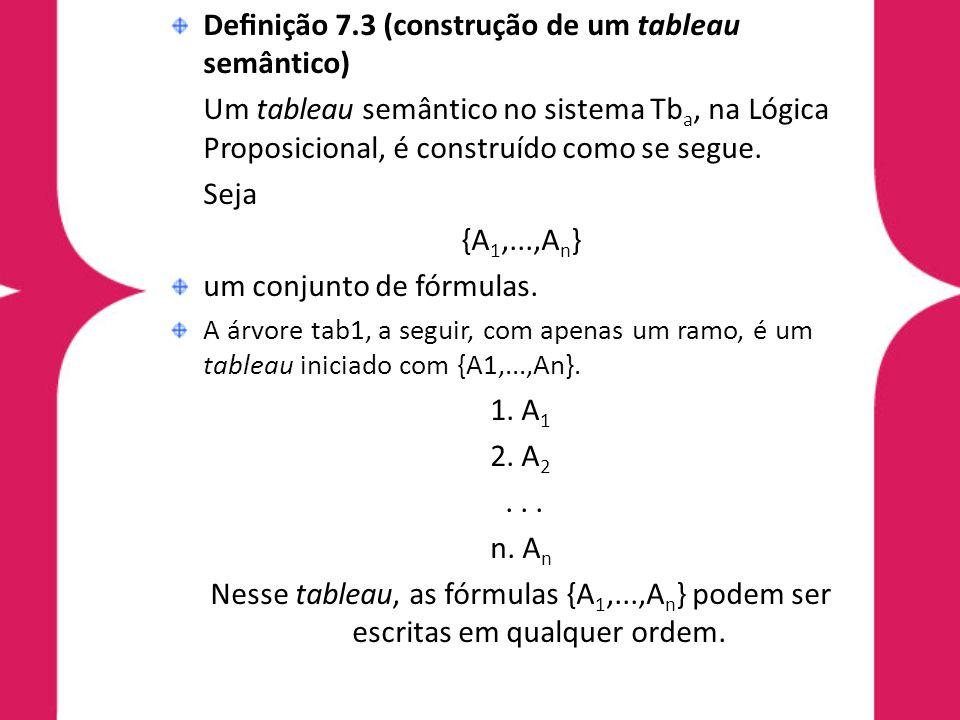 Denição 7.3 (construção de um tableau semântico) Se tab 2 é a árvore resultante da aplicação de uma das regras (R 1,...,R 9 ) à árvore tab 1, então tab2 é também um tableau iniciado com {A 1,...,A n }.