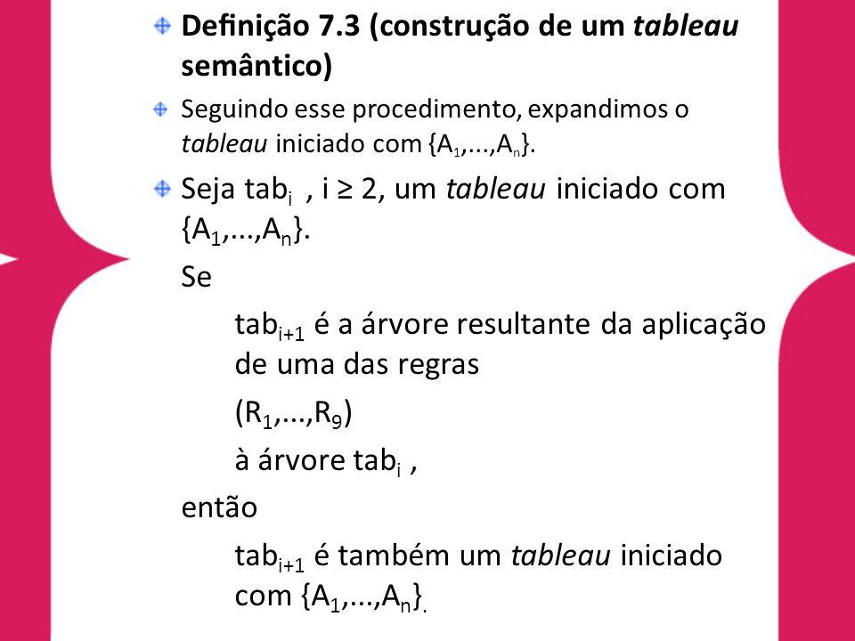 Denição 7.4 (ramo) No sistema Tb a, um ramo em um tableau é uma seqüência de fórmulas H 1,...,H n, onde H 1 é a primeira fórmula do tableau e, nessa seqüência, H i+1 é derivada de H i, 1 i < n, utilizando alguma regra de Tb a.