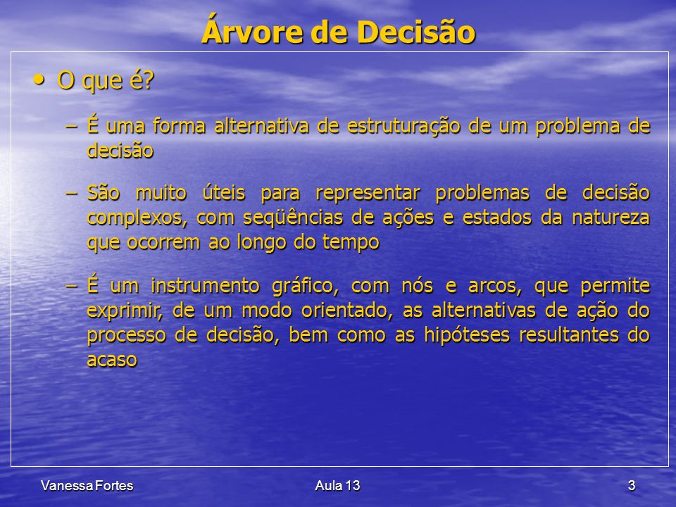 Vanessa FortesAula 1324 PROBLEMA CENTRAL CAUSA 1 CAUSA 2 CAUSA 3 CAUSA 1.1CAUSA 1.2CAUSA 2.1CAUSA 3.1CAUSA 2.2CAUSA 3.2 EFEITO 1 Efeitos Causas Causas = razões da ocorrência Descritores = sintomas das causas CAUSA = Descritores CAUSA 1.1.1 EFEITO Diagrama de Causa e Efeito IMPACTO Problemas relacionados