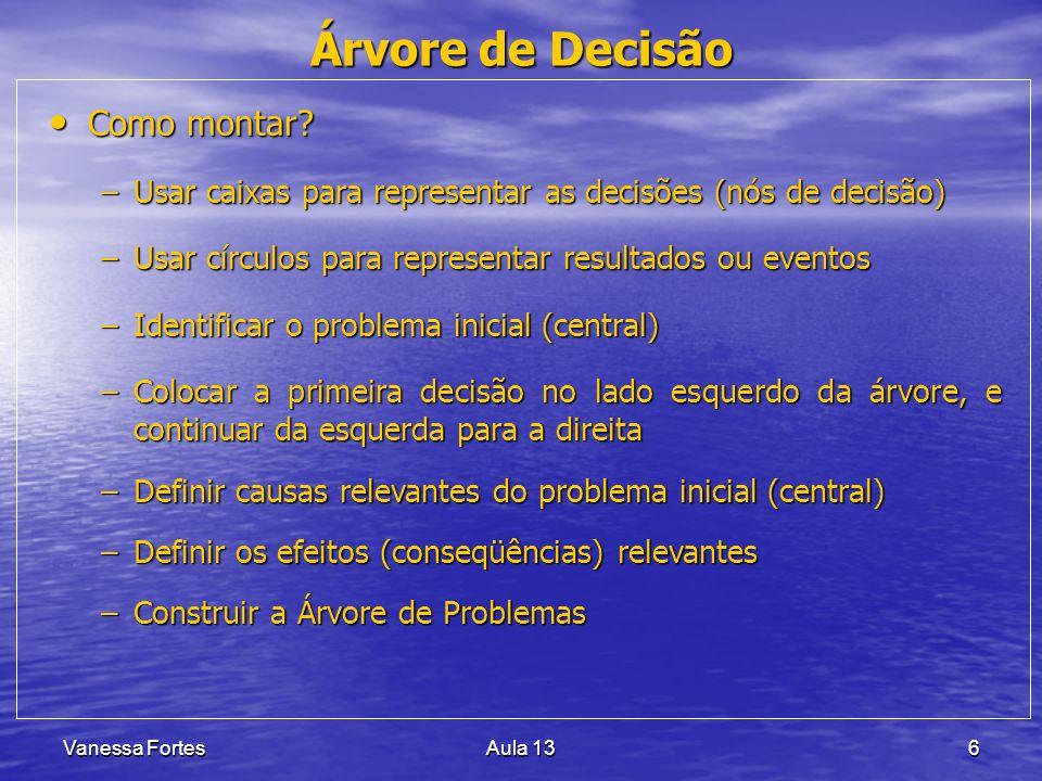 Vanessa FortesAula 137 Árvore de Decisão Como montar.