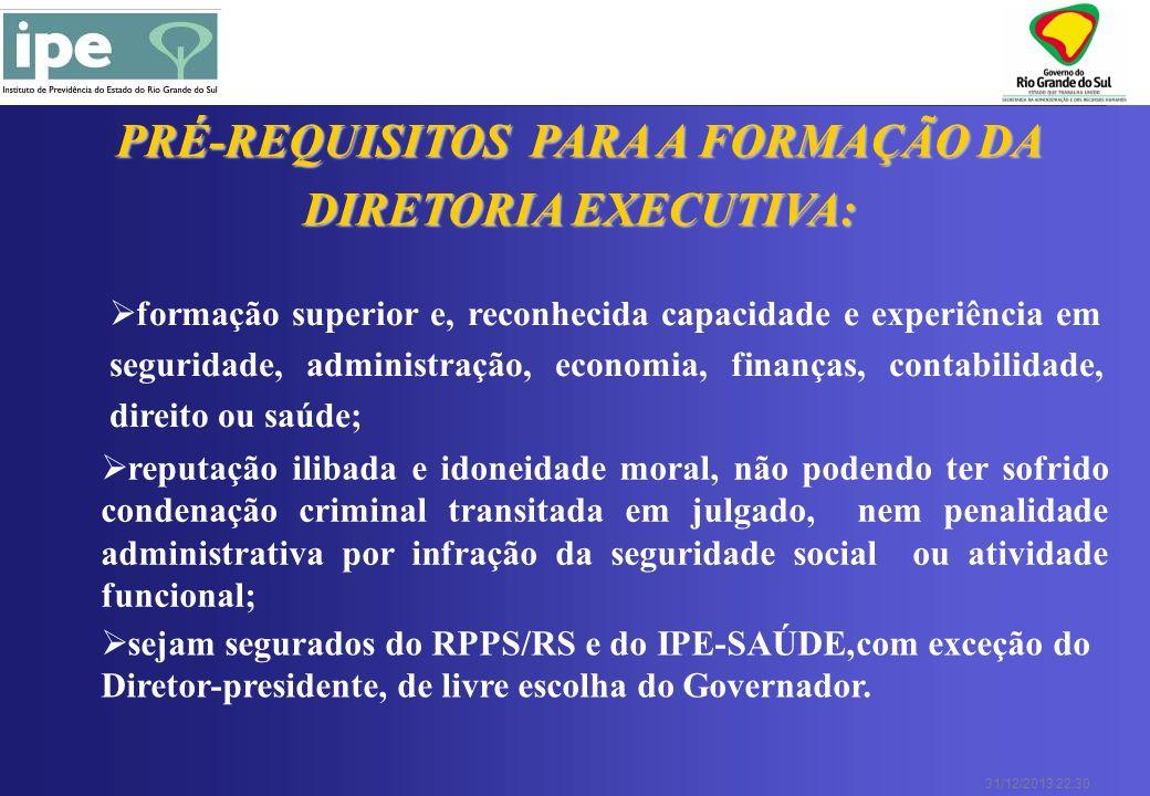 31/12/2013 22:30 PRÉ-REQUISITOS PARA A FORMAÇÃO DA DIRETORIA EXECUTIVA: formação superior e, reconhecida capacidade e experiência em seguridade, admin