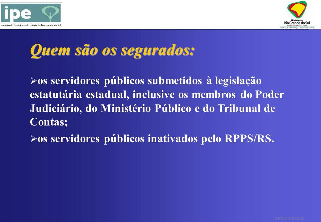 31/12/2013 22:30 Quem são os segurados: os servidores públicos submetidos à legislação estatutária estadual, inclusive os membros do Poder Judiciário,