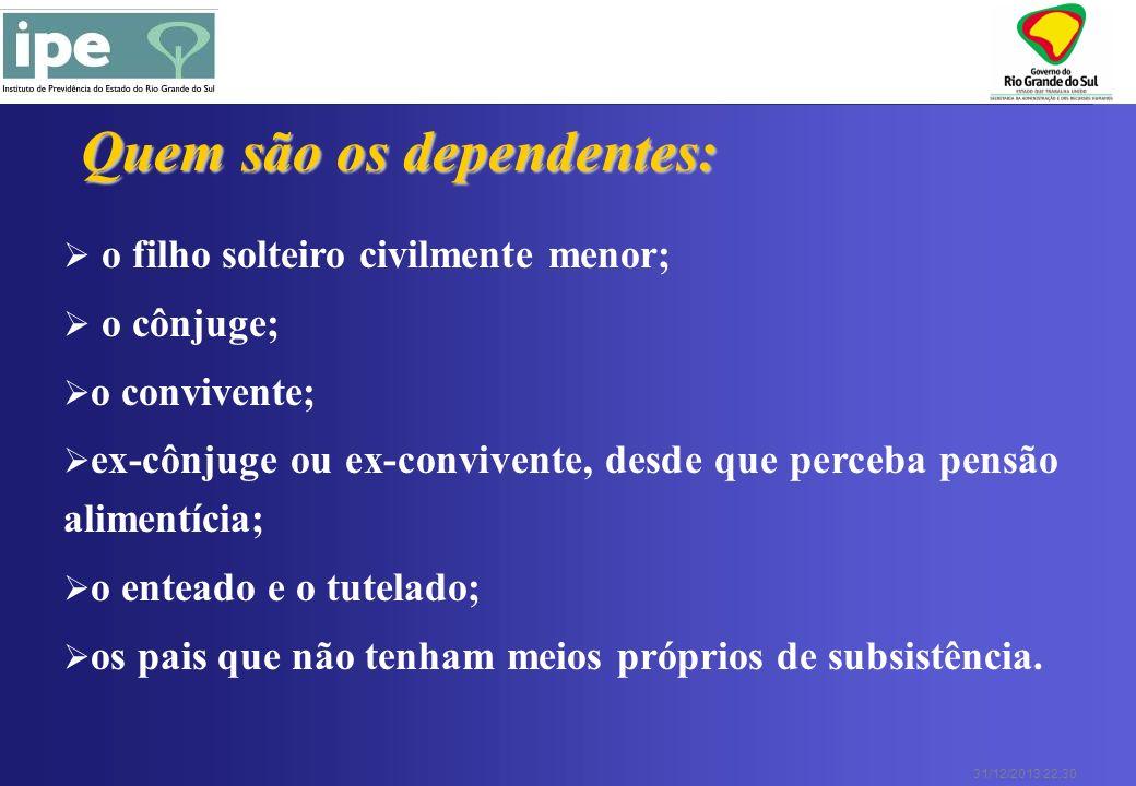 31/12/2013 22:30 Quem são os dependentes: o filho solteiro civilmente menor; o cônjuge; o convivente; ex-cônjuge ou ex-convivente, desde que perceba p