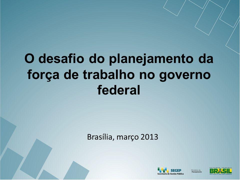 O desafio do planejamento da força de trabalho no governo federal Brasília, março 2013