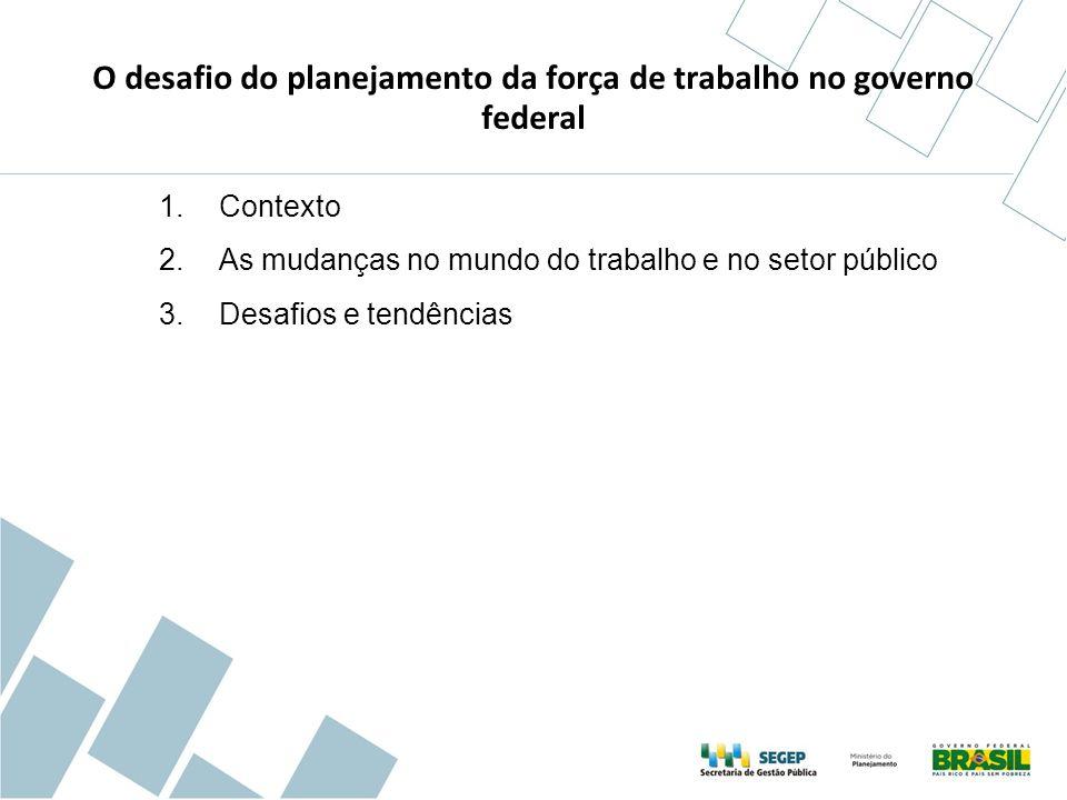 191 milhões de brasileiros, pelo Censo 2010 46,3 milhões de pessoas ocupadas com emprego formal (RAIS 2011) 9 milhões de servidores públicos, considerando União, Estados e Municípios, incluindo os poderes Executivo, Legislativo e Judiciário (RAIS 2010).