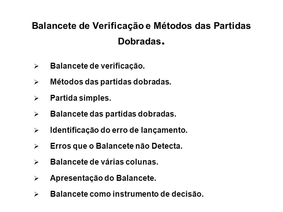 Balancete de Verificação e Métodos das Partidas Dobradas. Balancete de verificação. Métodos das partidas dobradas. Partida simples. Balancete das part