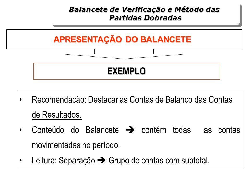 Recomendação: Destacar as Contas de Balanço das Contas de Resultados. Conteúdo do Balancete contém todas as contas movimentadas no período. Leitura: S