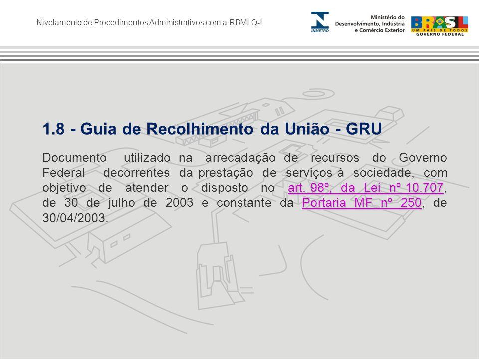 1.8 - Guia de Recolhimento da União - GRU art. 98º, da Lei nº 10.707 Portaria MF nº 250 art. 98º, da Lei nº 10.707 Portaria MF nº 250 Documento utiliz