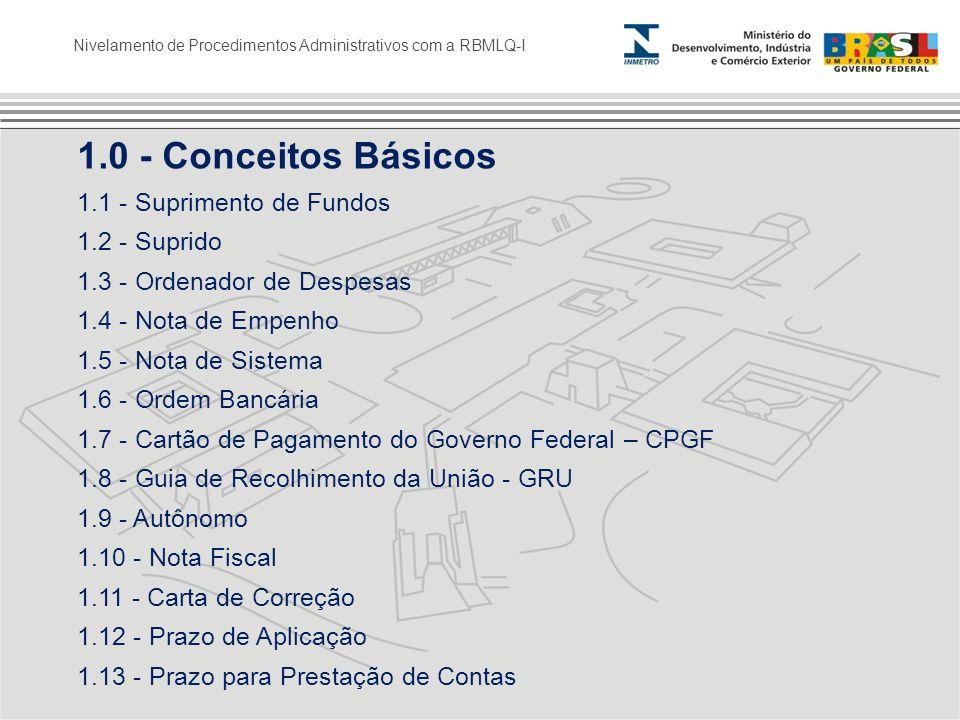 Nivelamento de Procedimentos Administrativos com a RBMLQ-I 1.0 - Conceitos Básicos 1.1 - Suprimento de Fundos 1.2 - Suprido 1.3 - Ordenador de Despesa