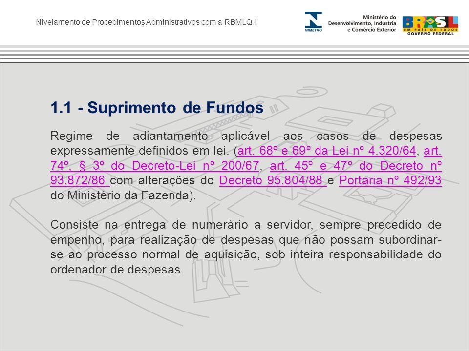 Nivelamento de Procedimentos Administrativos com a RBMLQ-I 1.1 - Suprimento de Fundos art. 68º e 69º da Lei nº 4.320/64art. 74º, § 3º do Decreto-Lei n