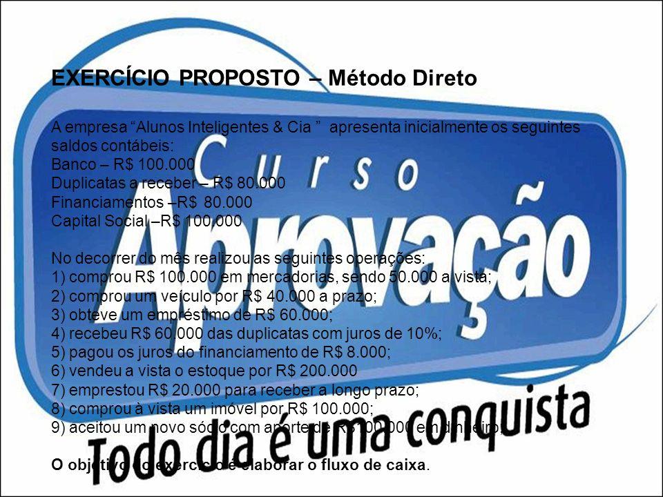 EXERCÍCIO PROPOSTO – Método Direto A empresa Alunos Inteligentes & Cia apresenta inicialmente os seguintes saldos contábeis: Banco – R$ 100.000 Duplic