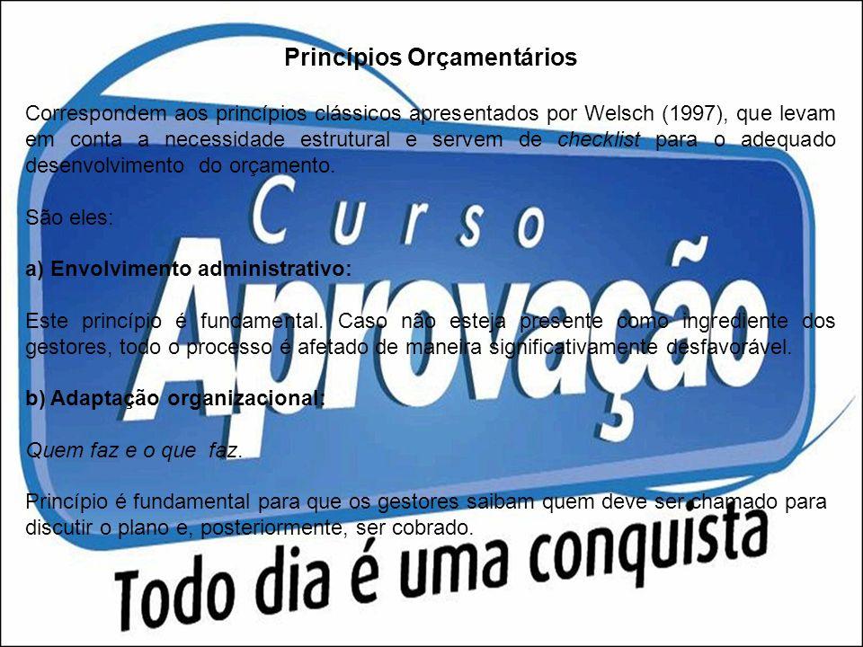 Princípios Orçamentários Correspondem aos princípios clássicos apresentados por Welsch (1997), que levam em conta a necessidade estrutural e servem de