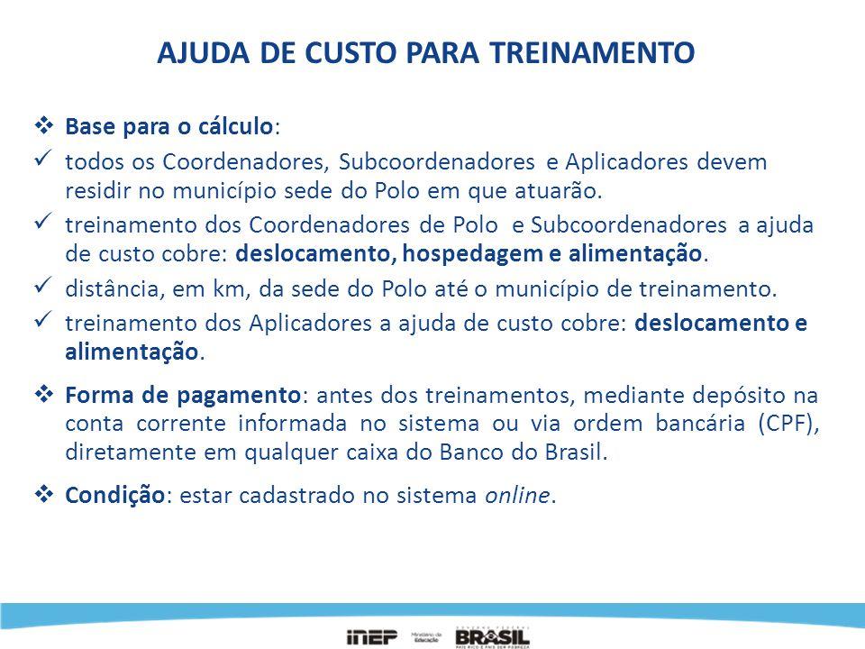Valores da Ajuda de Custo para Treinamento dos Subcoordenadores e Coordenadores Interior (mais de 200 km) para a Capital: Belo Horizonte...........................................R$ 431,30 Porto Alegre...............................................R$ 431,30 Salvador.....................................................R$ 431,30 Aracaju.......................................................R$ 411,60 Belém.........................................................R$ 411,60 Campo Grande...........................................R$ 411,60 Goiânia........................................................R$ 411,60